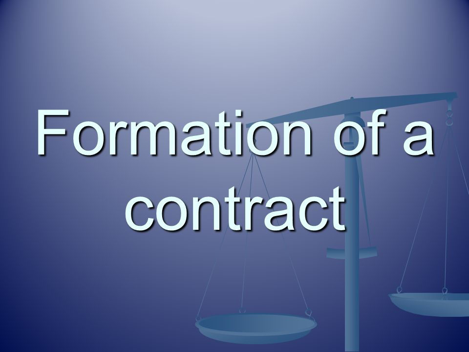 Formation of a contract