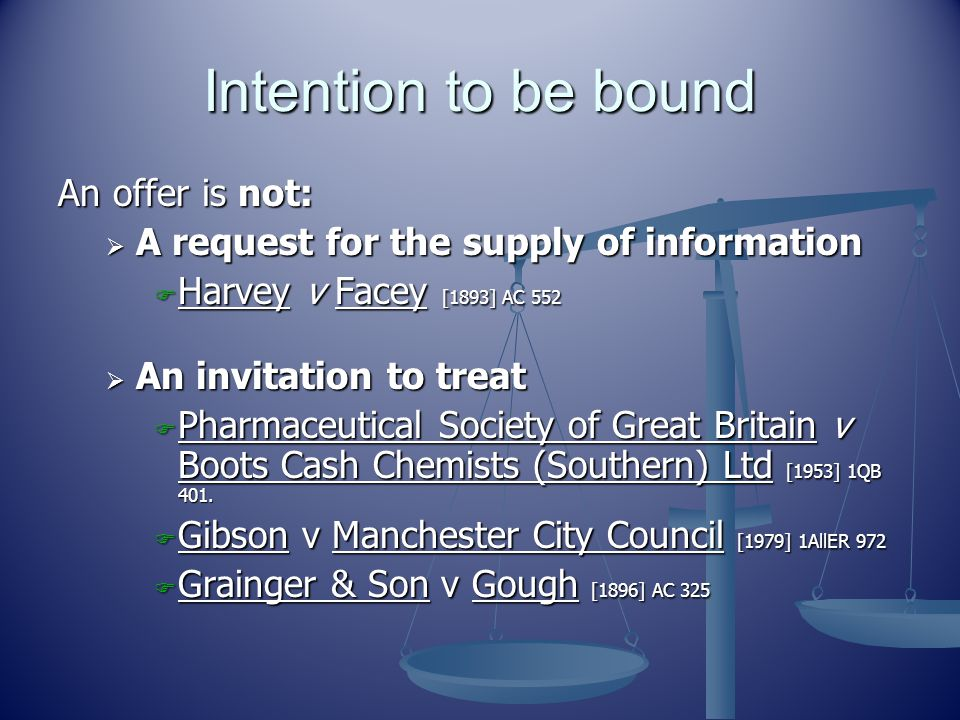 Intention to be bound An offer is not: