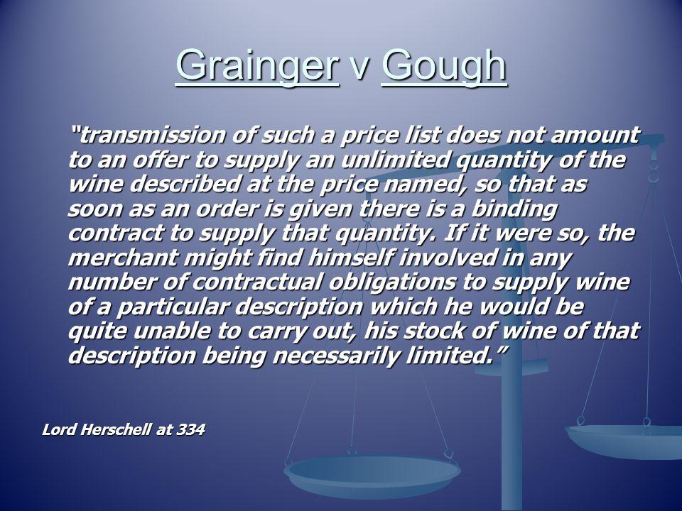 Grainger v Gough