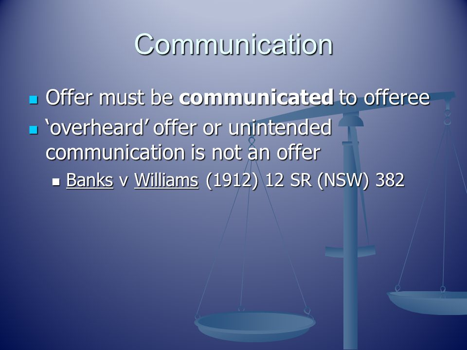 Communication Offer must be communicated to offeree