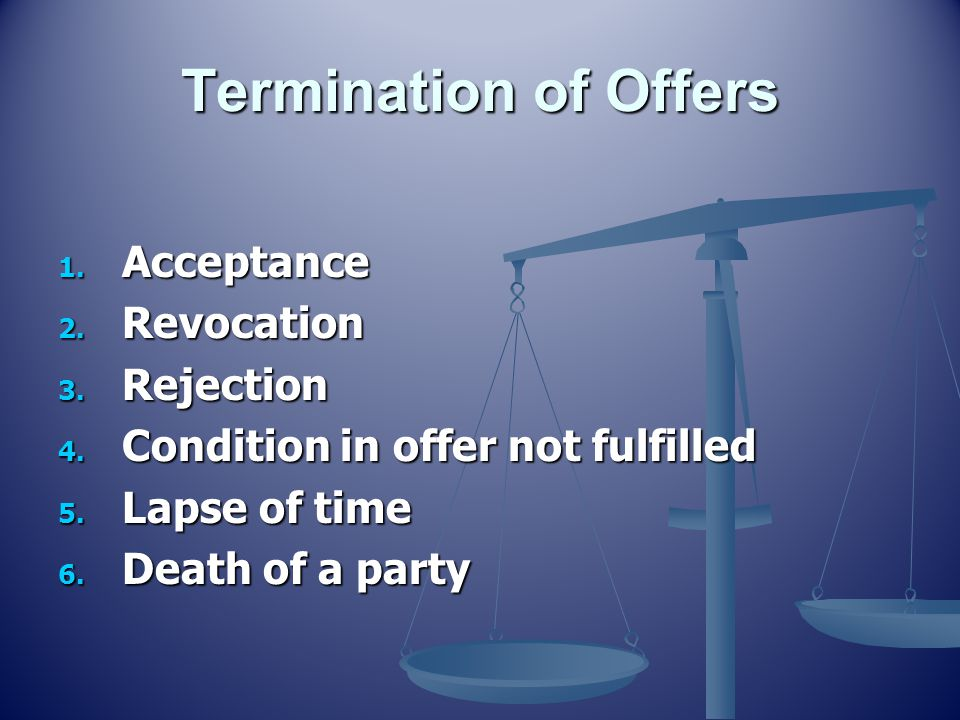 Termination of Offers Acceptance Revocation Rejection