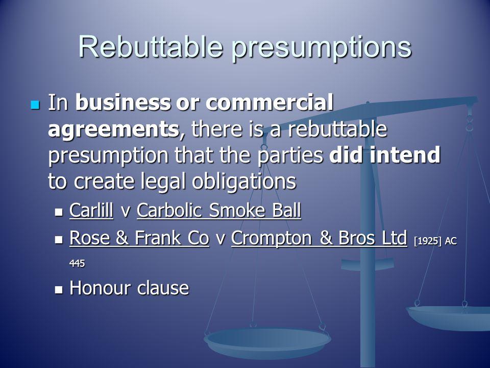 Rebuttable presumptions