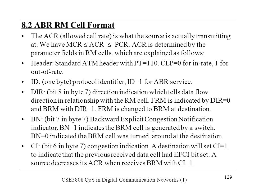 8.2 ABR RM Cell Format