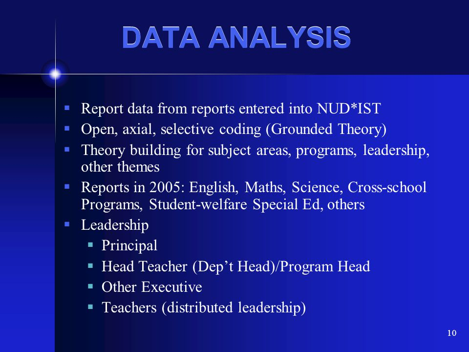 DATA ANALYSIS Report data from reports entered into NUD*IST