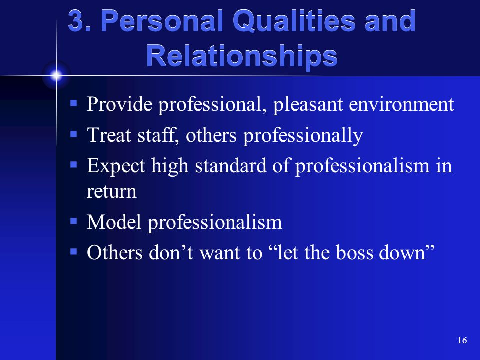 3. Personal Qualities and Relationships