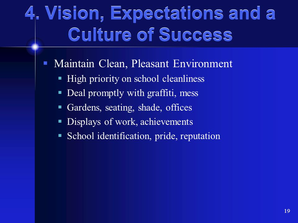 4. Vision, Expectations and a Culture of Success