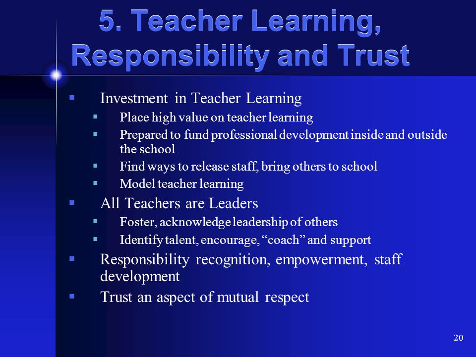 5. Teacher Learning, Responsibility and Trust