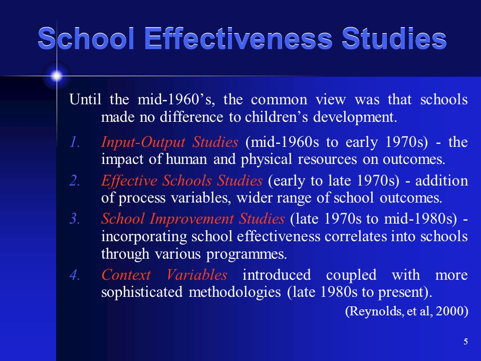 School Effectiveness Studies
