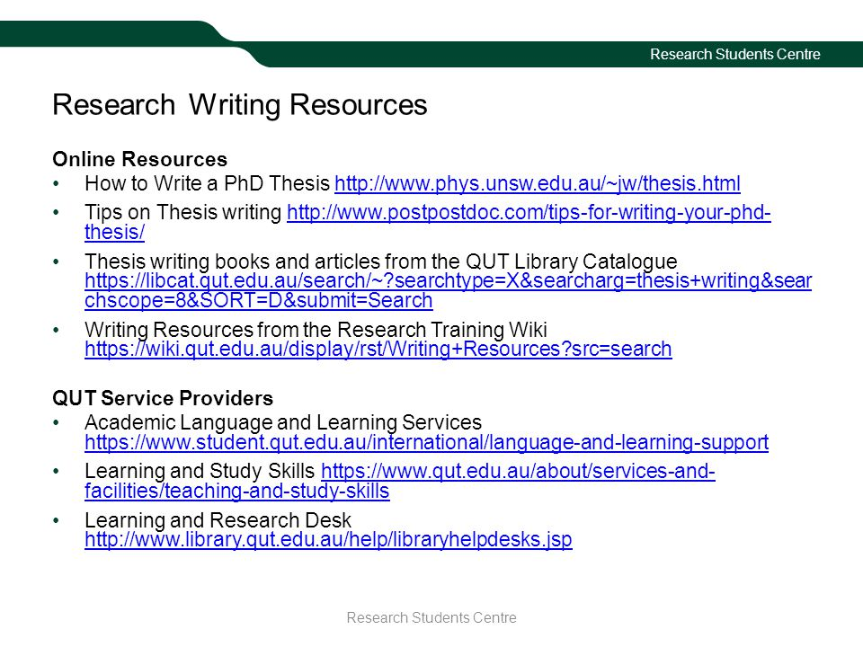 Research Writing Resources