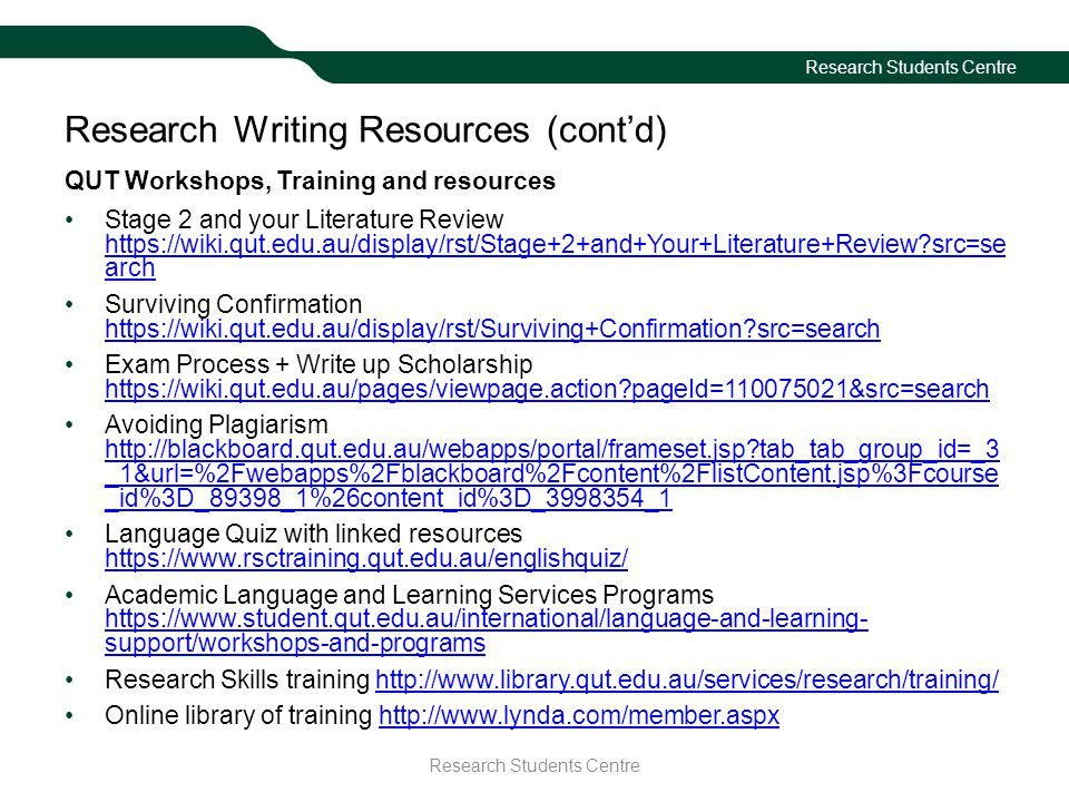Research Writing Resources (cont'd)