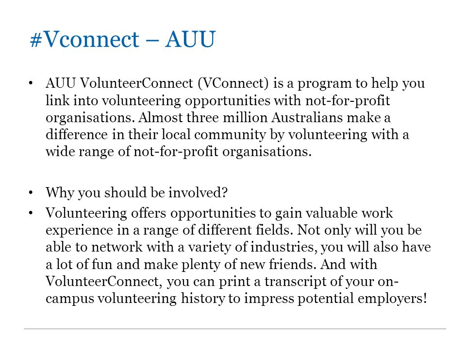 #Vconnect – AUU