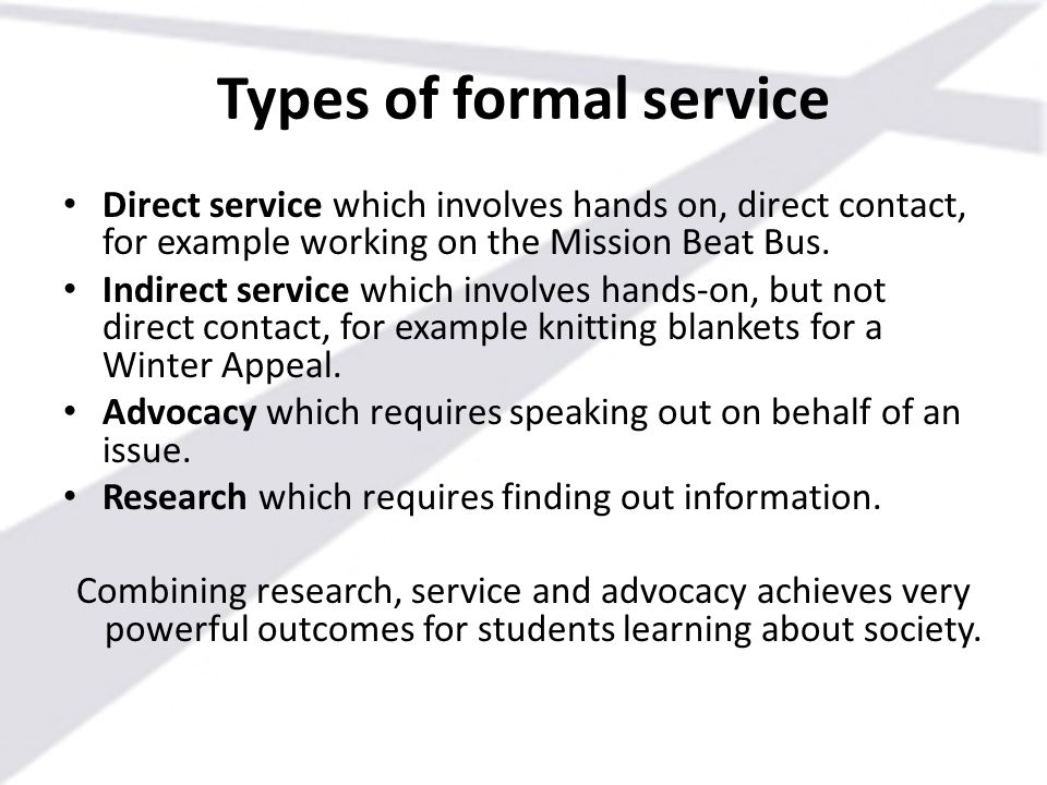 Types of formal service