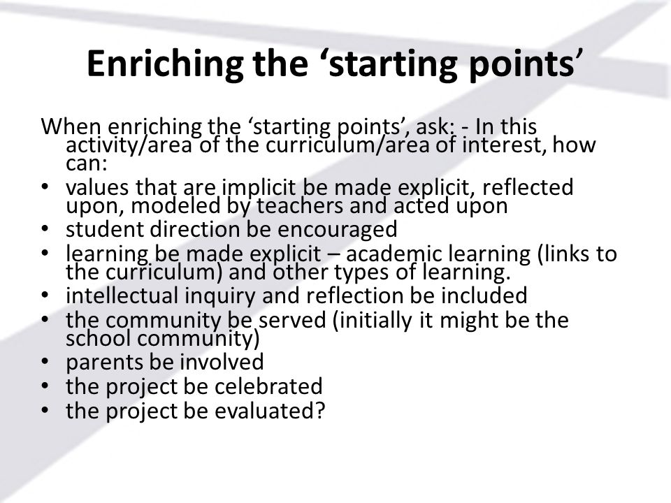 Enriching the 'starting points'