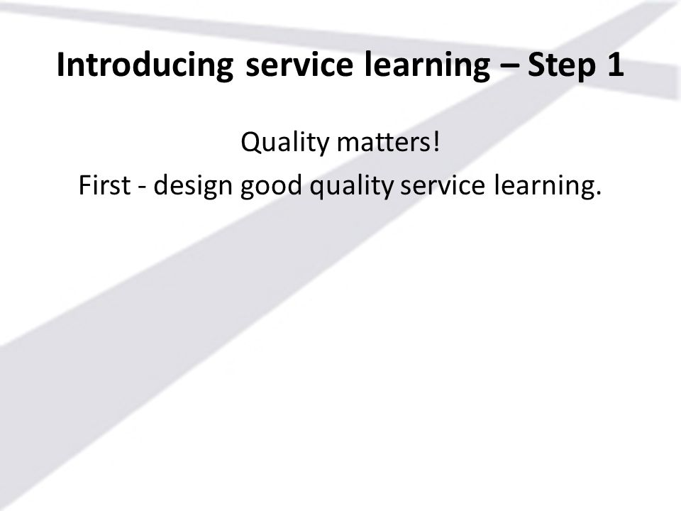 Introducing service learning – Step 1