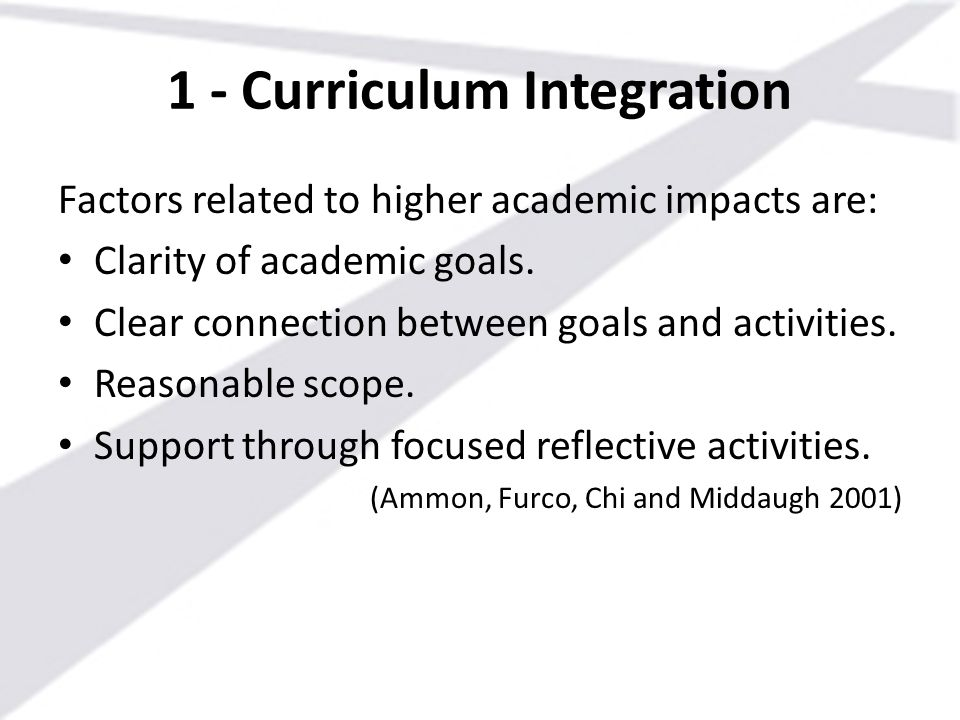 1 - Curriculum Integration