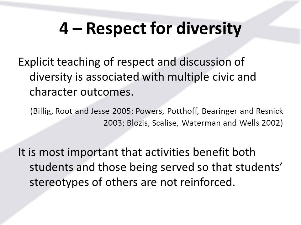 4 – Respect for diversity