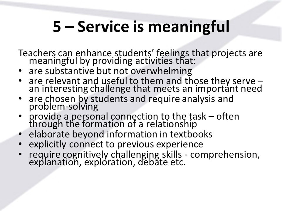 5 – Service is meaningful