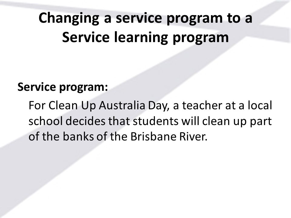 Changing a service program to a Service learning program