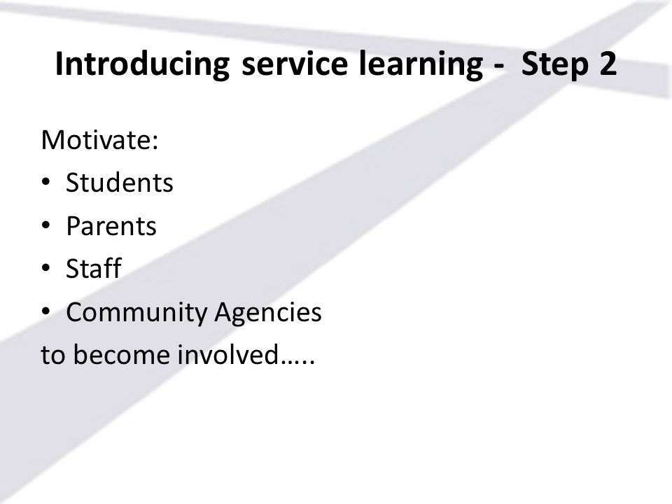 Introducing service learning - Step 2