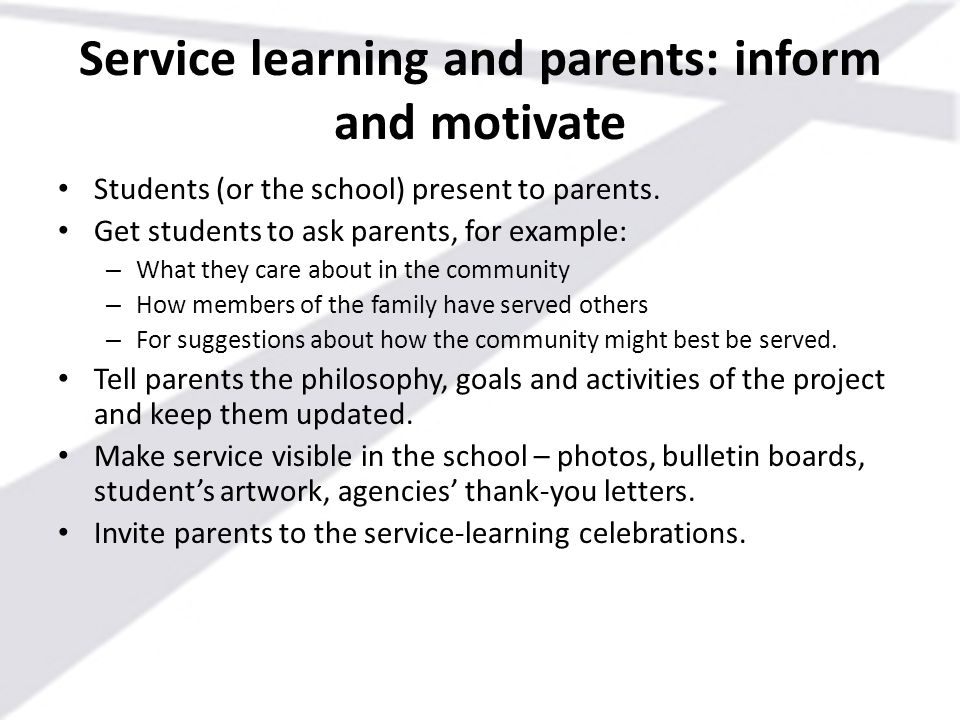 Service learning and parents: inform and motivate
