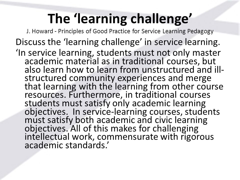 The 'learning challenge' J