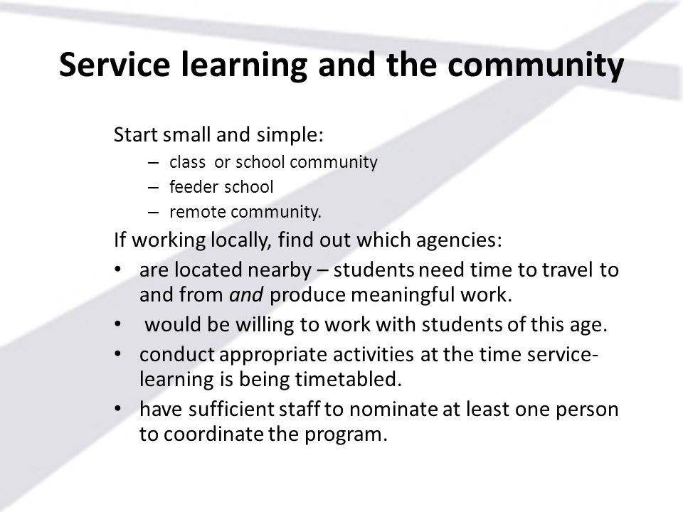 Service learning and the community