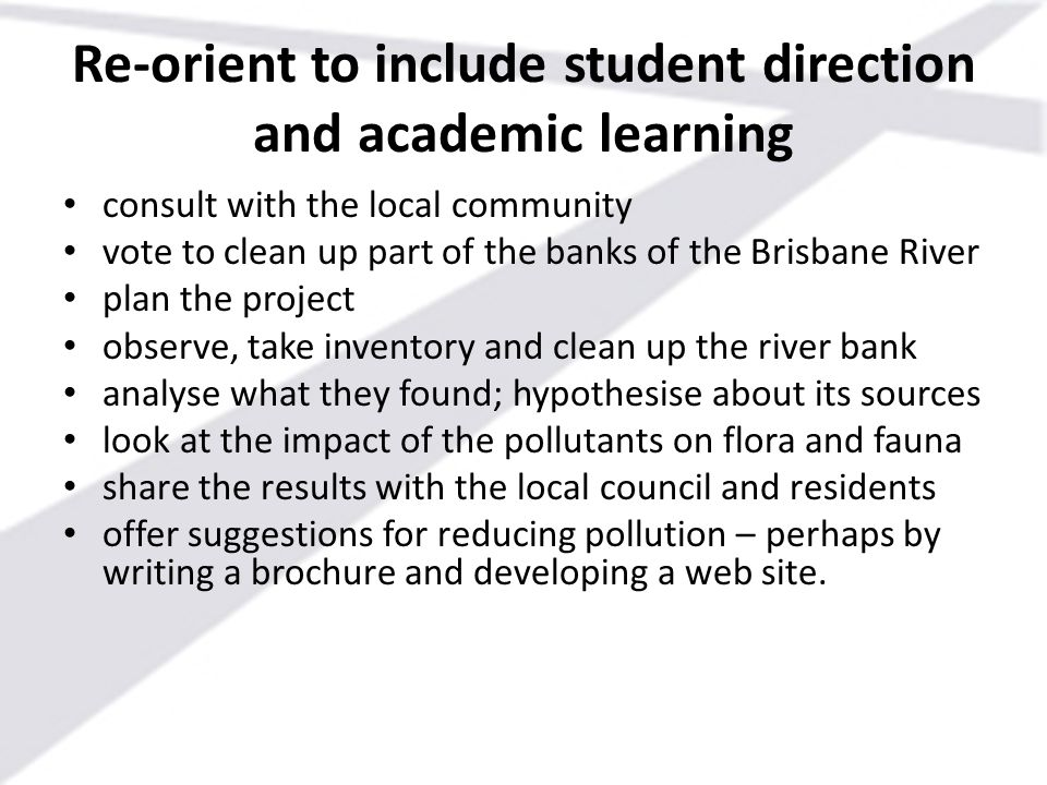 Re-orient to include student direction and academic learning