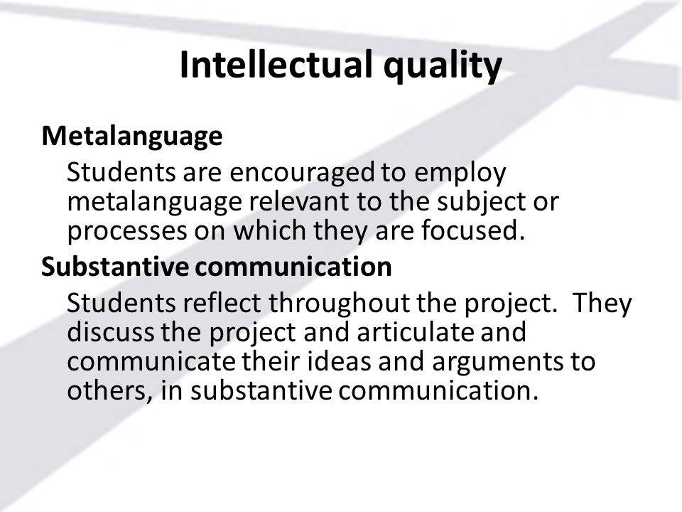 Intellectual quality Metalanguage