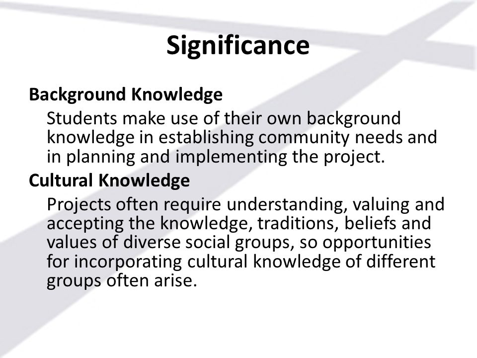 Significance Background Knowledge