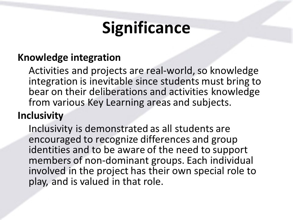 Significance Knowledge integration