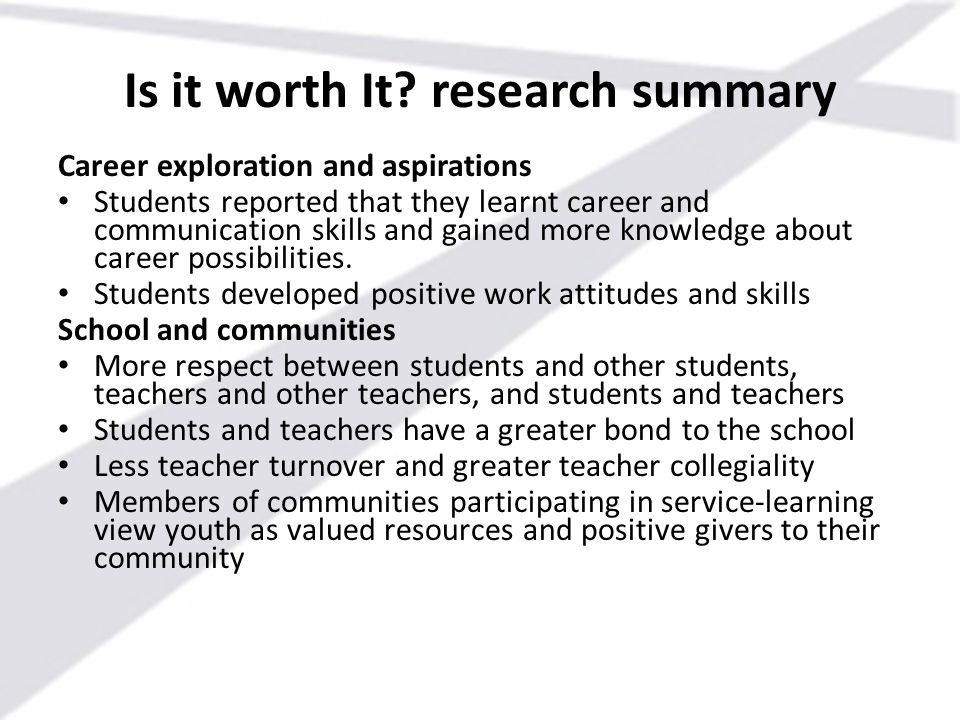 Is it worth It research summary