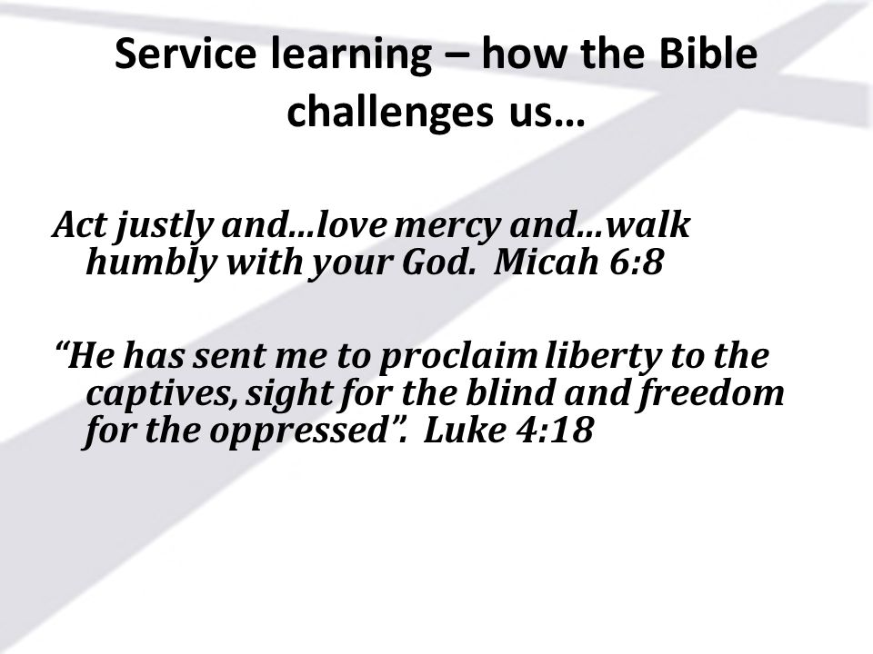 Service learning – how the Bible challenges us…
