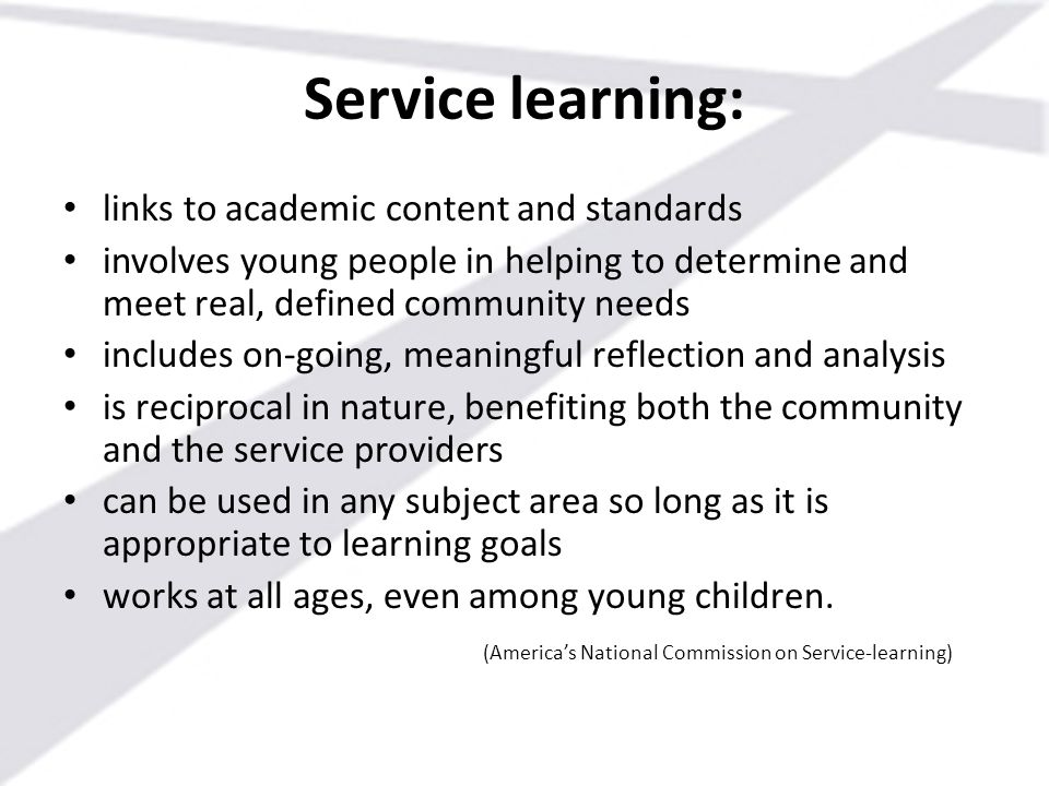 Service learning: links to academic content and standards