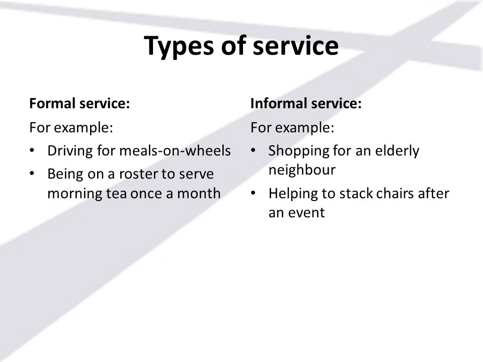 Types of service Formal service: Informal service: For example: