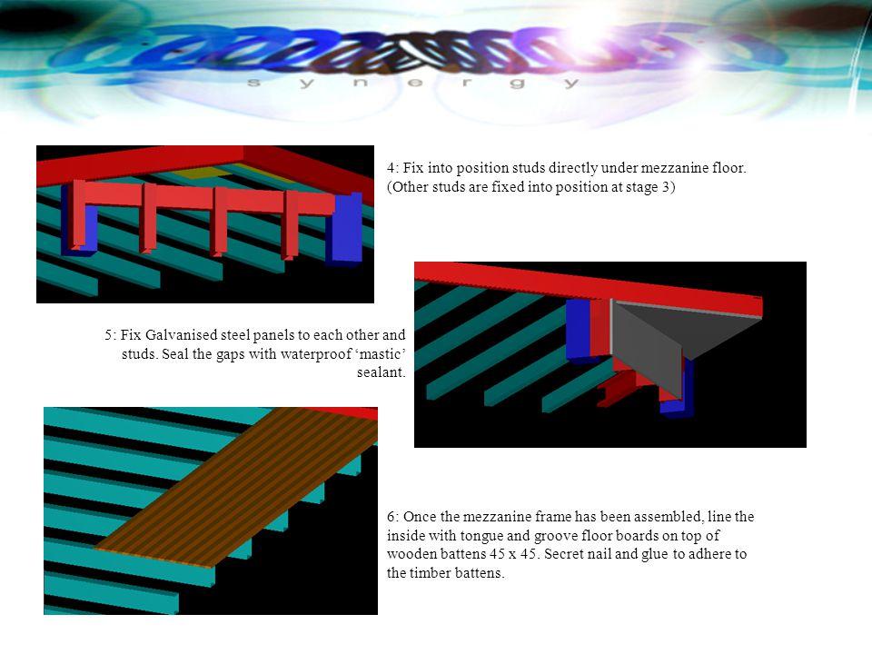4: Fix into position studs directly under mezzanine floor