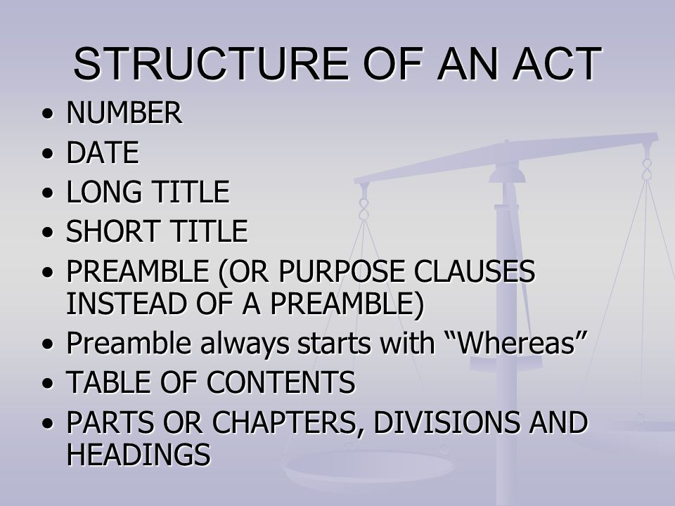 STRUCTURE OF AN ACT NUMBER DATE LONG TITLE SHORT TITLE