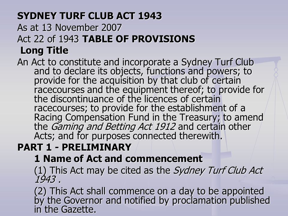SYDNEY TURF CLUB ACT 1943 As at 13 November 2007. Act 22 of 1943 TABLE OF PROVISIONS. Long Title.