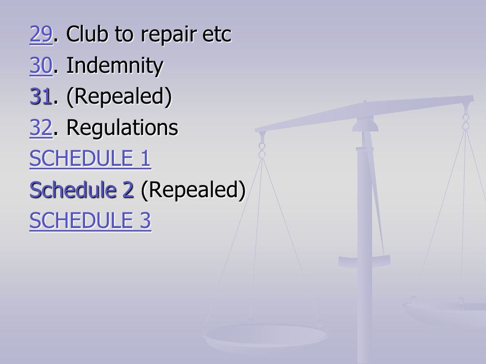 29. Club to repair etc 30. Indemnity. 31. (Repealed) 32. Regulations. SCHEDULE 1. Schedule 2 (Repealed)