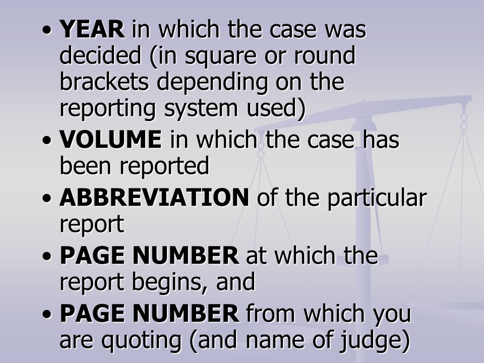 YEAR in which the case was decided (in square or round brackets depending on the reporting system used)