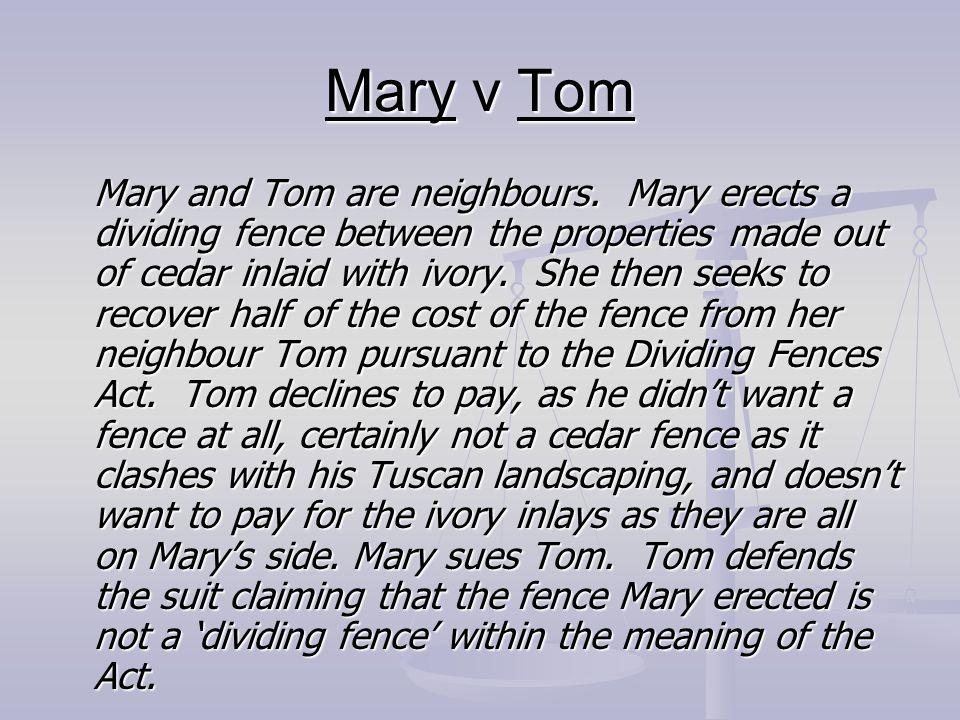 Mary v Tom