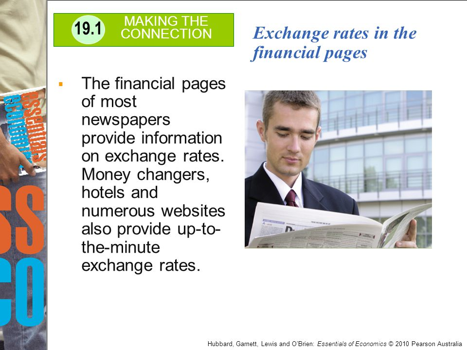 Exchange rates in the financial pages