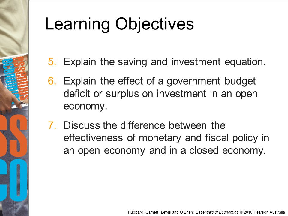 Learning Objectives Explain the saving and investment equation.