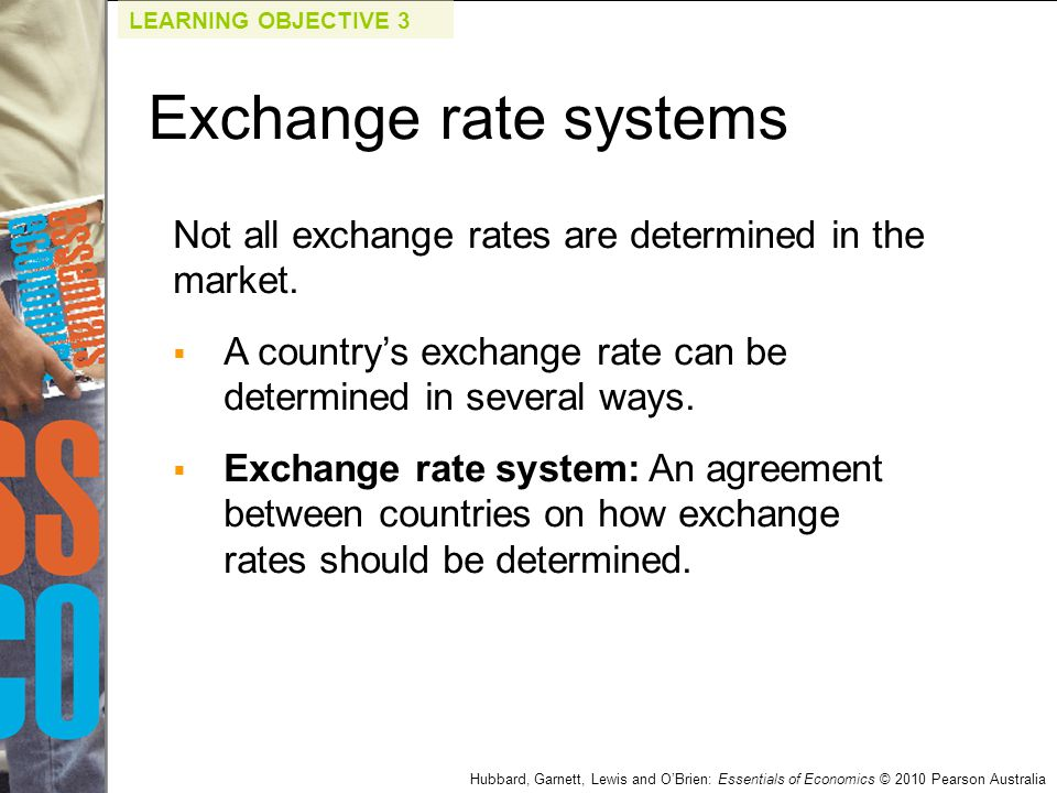 LEARNING OBJECTIVE 3 Exchange rate systems. Not all exchange rates are determined in the market.