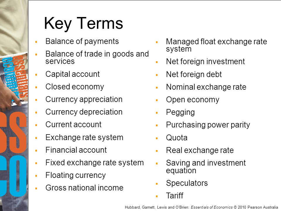 Key Terms Balance of payments Balance of trade in goods and services