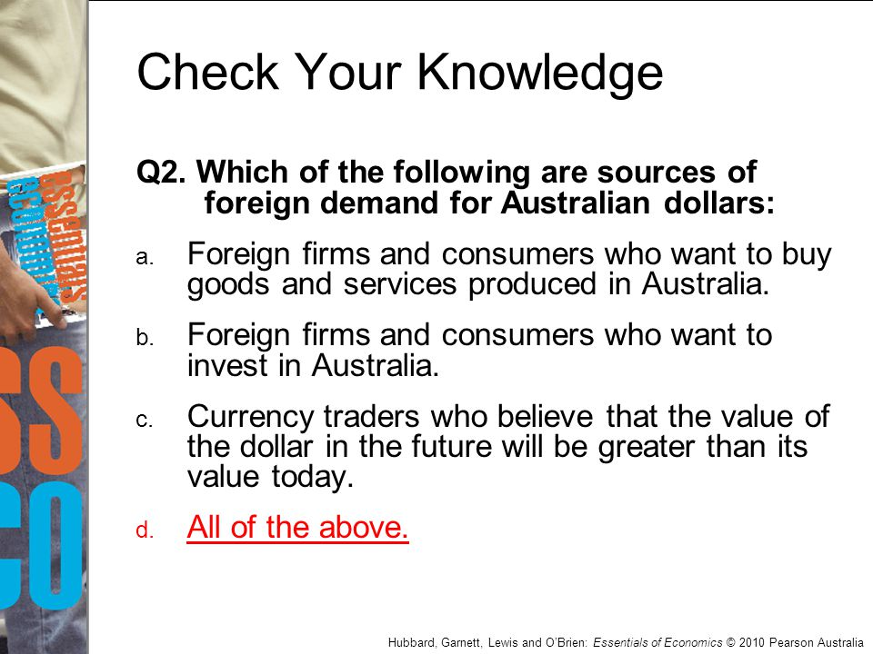 Check Your Knowledge Q2. Which of the following are sources of foreign demand for Australian dollars: