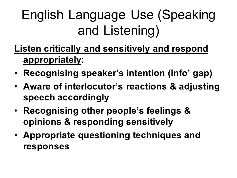 English Language Use (Speaking and Listening)