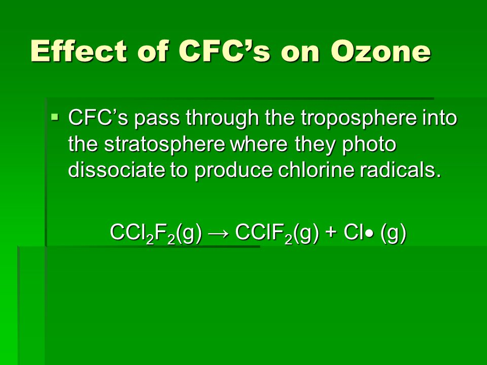 Effect of CFC's on Ozone