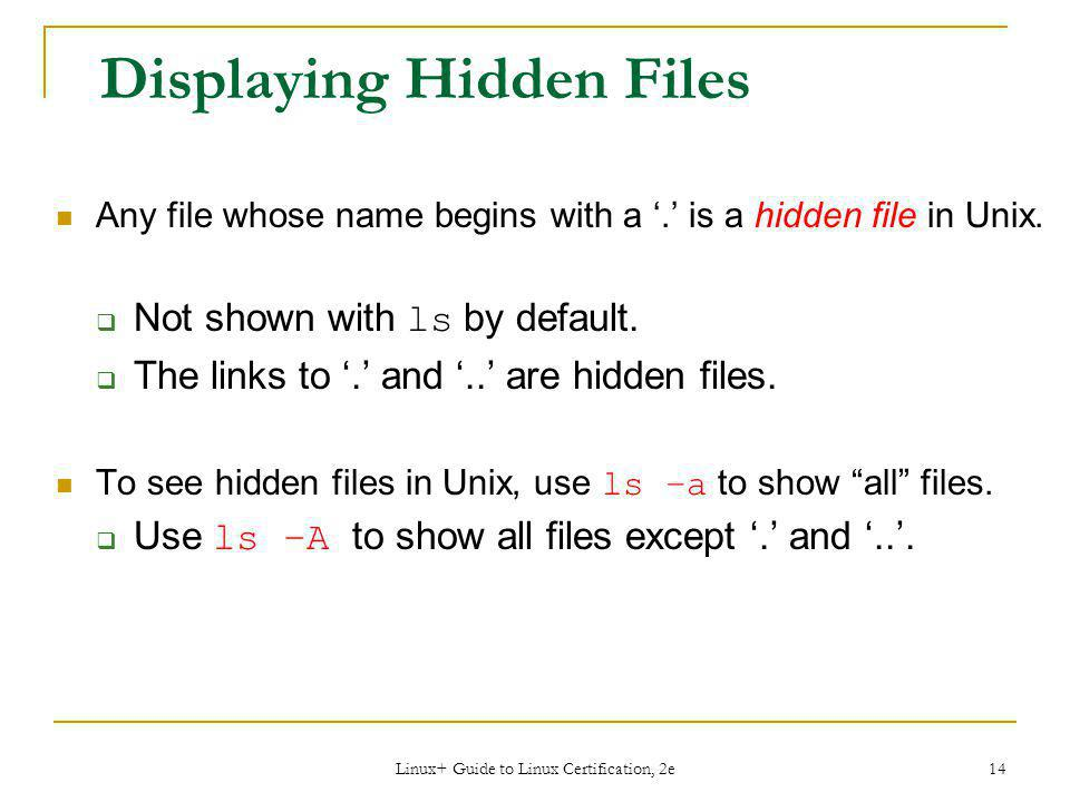 Displaying Hidden Files