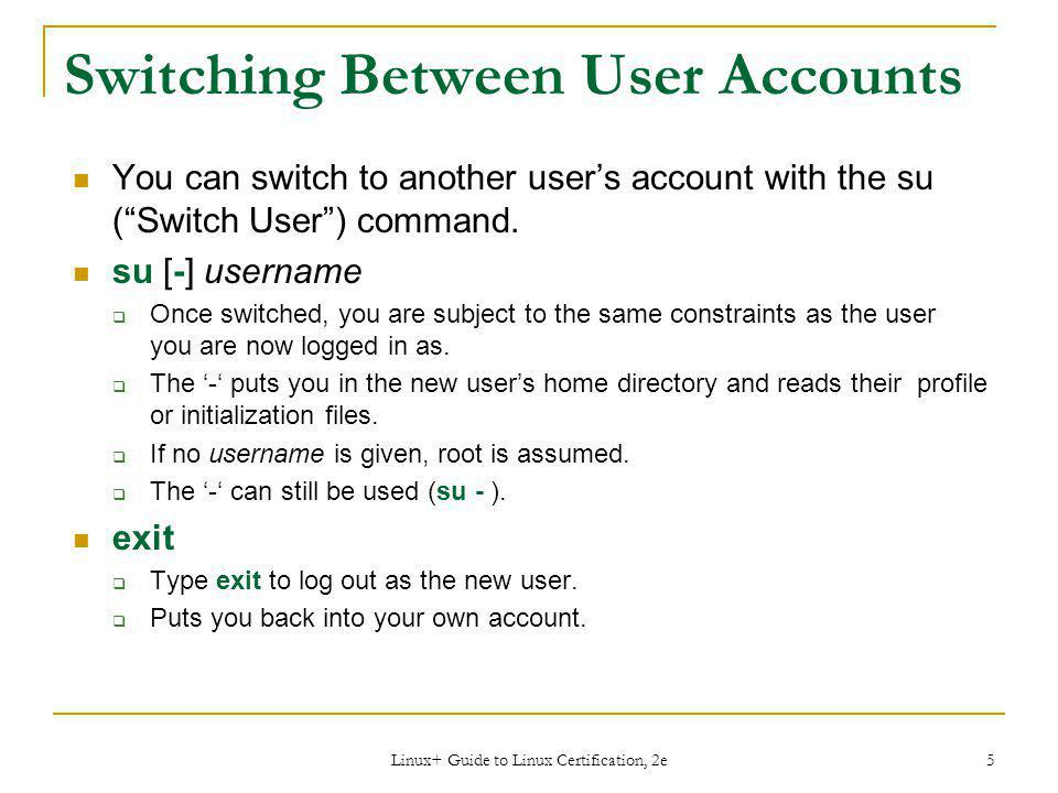 Switching Between User Accounts