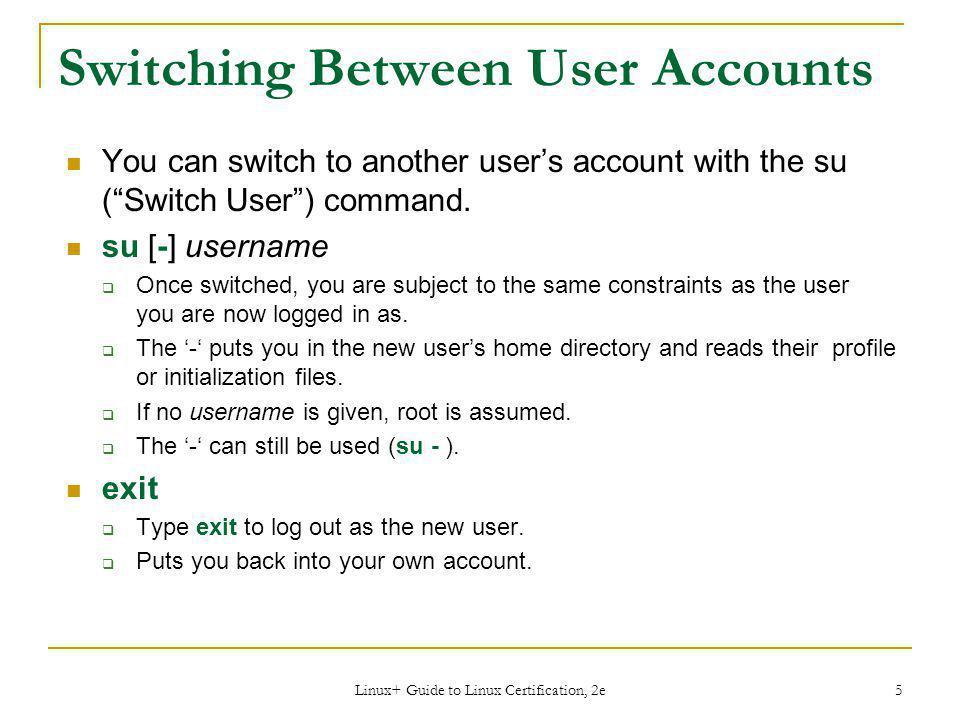 Switching Between User Accounts